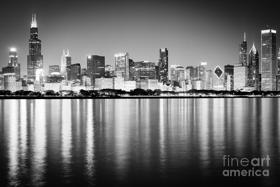 Chicago Skyline Black And White Photo Photograph