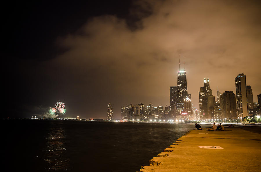 Chicago Skyline Fireworks Photograph