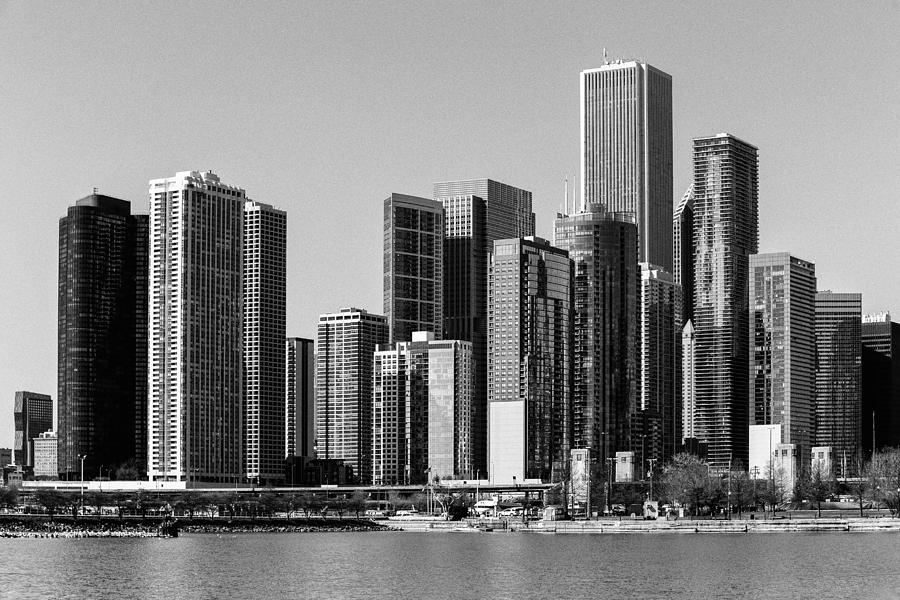 Chicago Photograph - Chicago Skyline In Black And White by Terri Morris