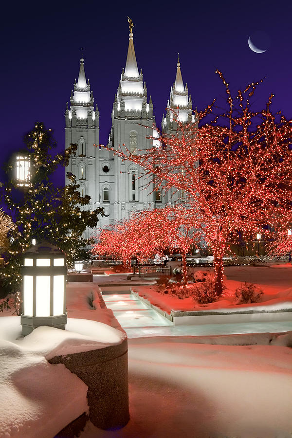 Mormon Temple Photograph - Christmas Lights At Temple Square by Utah Images