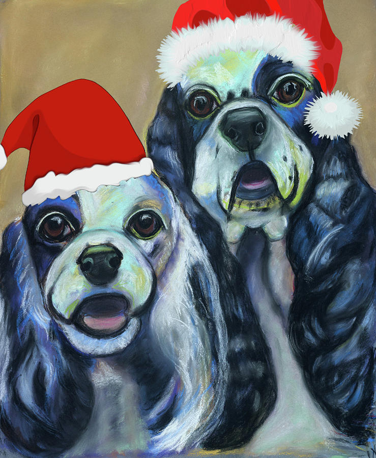 Christmas Pastel - 2 Cockers by Ann Hoff