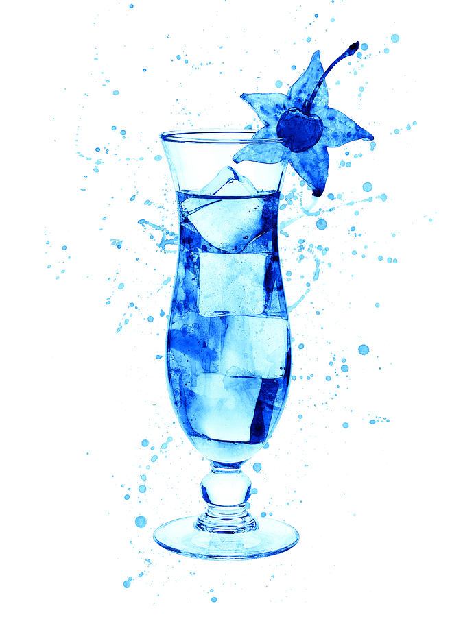 Cocktail Digital Art - Cocktail Drinks Glass Watercolor by Michael Tompsett