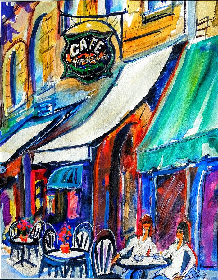 Coffee Time Painting - Coffee In The Village by Therese Fowler-Bailey