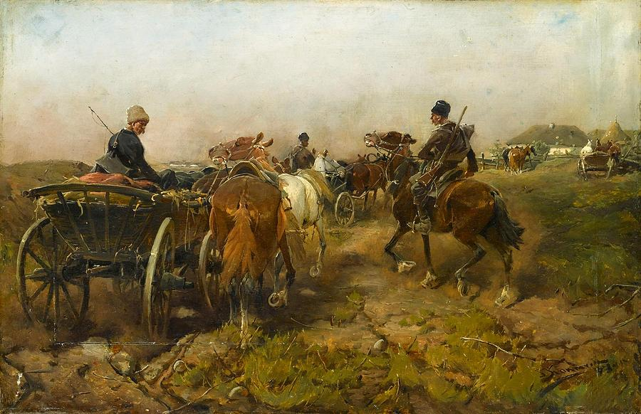 Painting Painting - Cossacks Returning Home On Horseback by Alfred von Wierusz