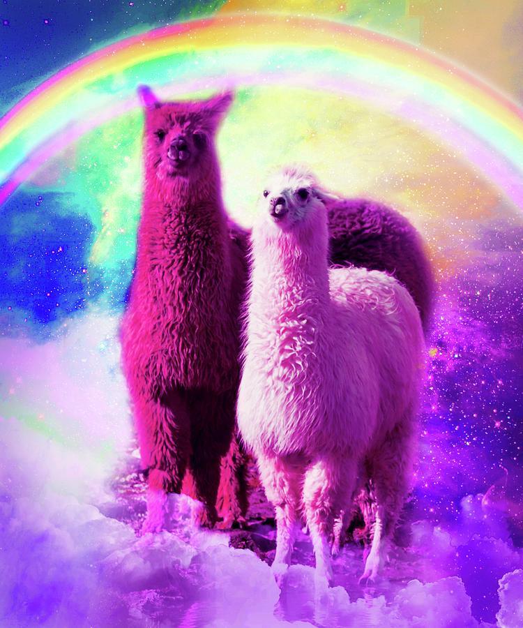 Llama Digital Art - Crazy Funny Rainbow Llama In Space by Random Galaxy