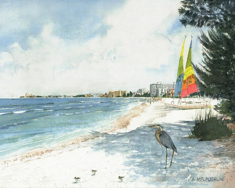 Siesta Key Painting - Blue Heron And Hobie Cats, Crescent Beach, Siesta Key by Shawn McLoughlin