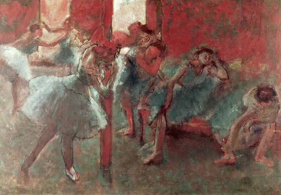 Bridgeman Art Library Pastel - Dancers At Rehearsal by Edgar Degas