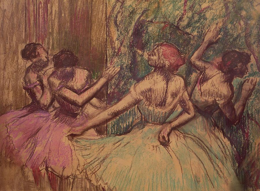 Degas Drawing - Dancers In The Wings by Edgar Degas