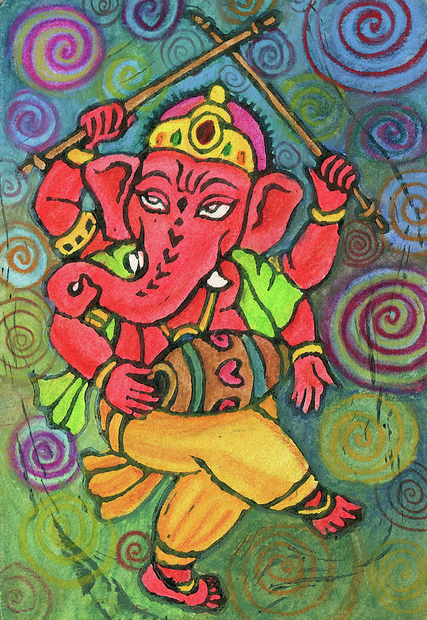 Deity Mixed Media - Dancing Ganesha by Jennifer Mazzucco
