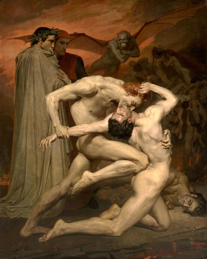 William-adolphe Bouguereau Painting - Dante And Virgil In Hell  by William-Adolphe Bouguereau