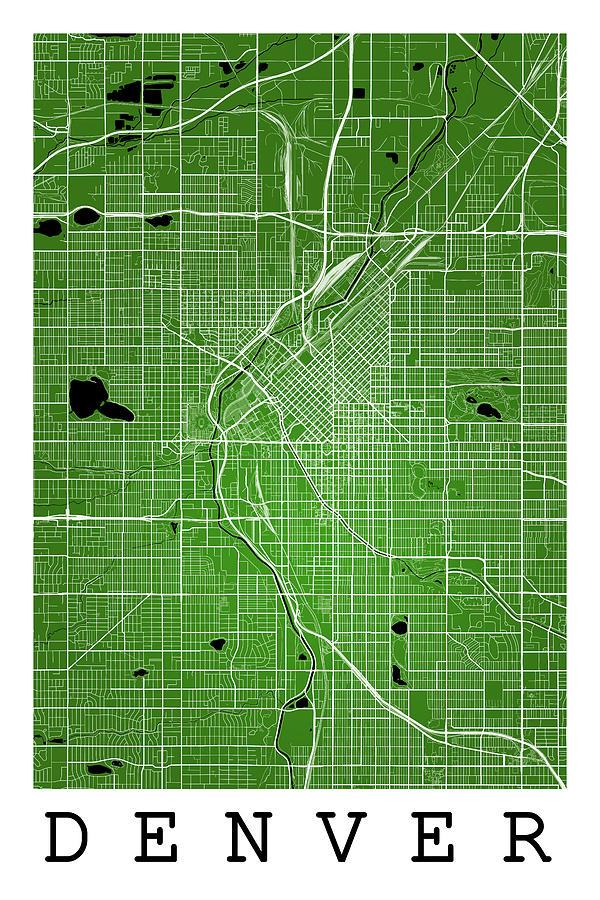 Denver Street Map - Denver Colorado Usa Road Map Art On Color ...