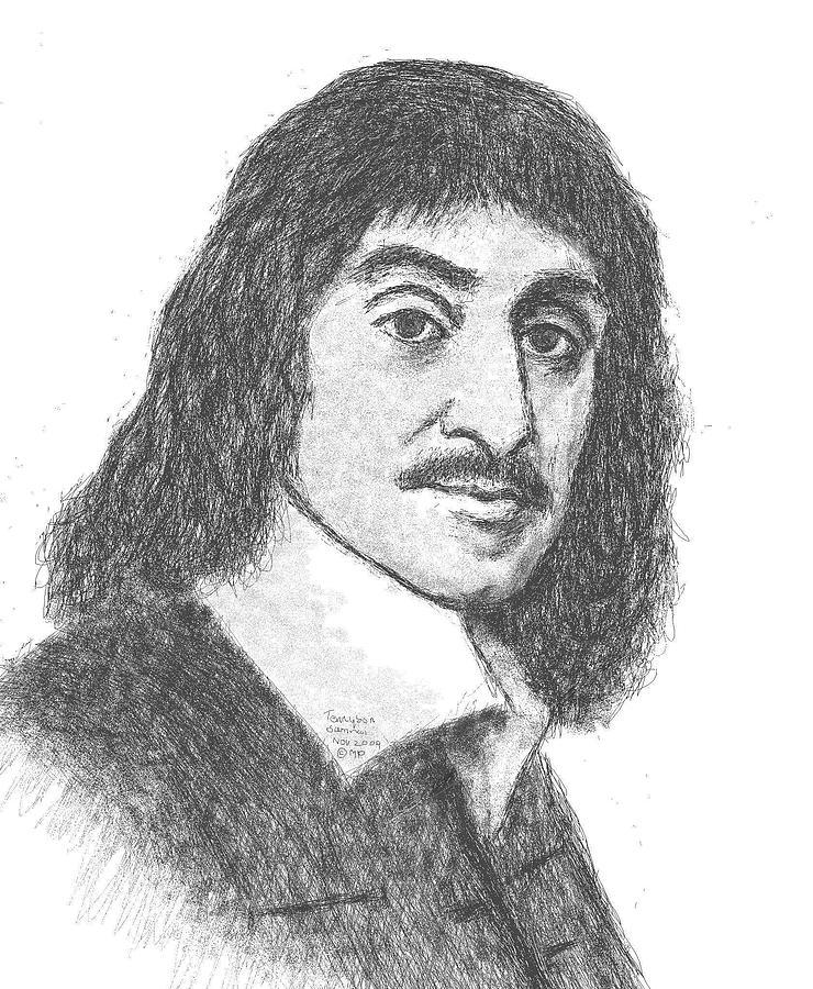 Portrait Painting - Descartes by Tennyson Samraj