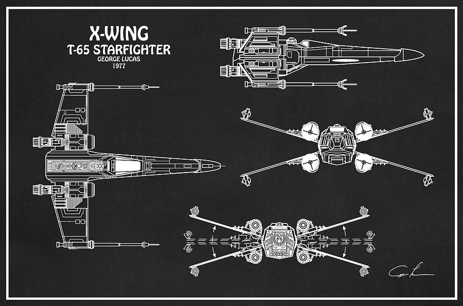 Diagram Illustration For The T 65 X Wing Starfighter From Star Wars