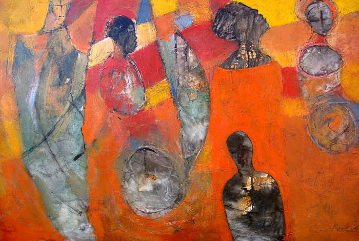 Figurative Painting - Divided Attention by Ronex Ahimbisibwe