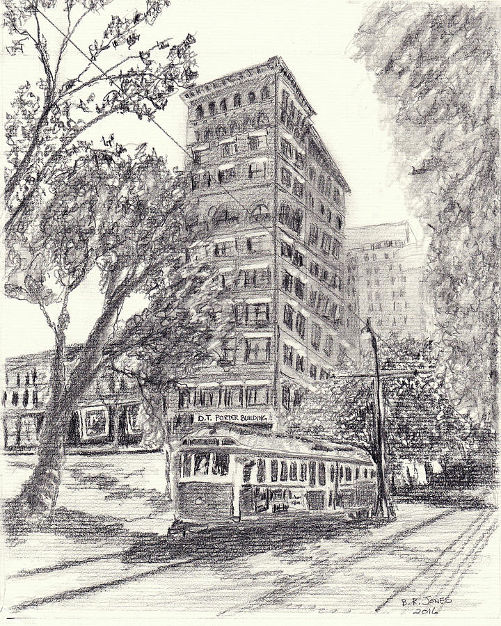 Memphis Drawing - Downtown Memphis by Barry Jones