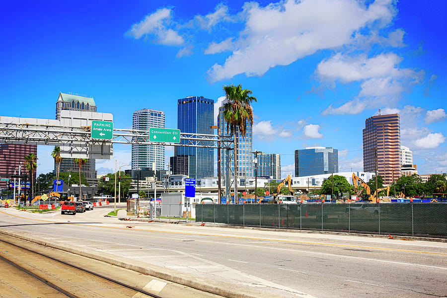 Looking Photograph - Downtown Tampa Fl, Usa by Chris Smith