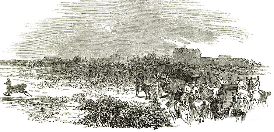 Easter Hunt Drawing - Easter Hunt With The Royal Stag Hounds  The Meet At Stoke Common by English School