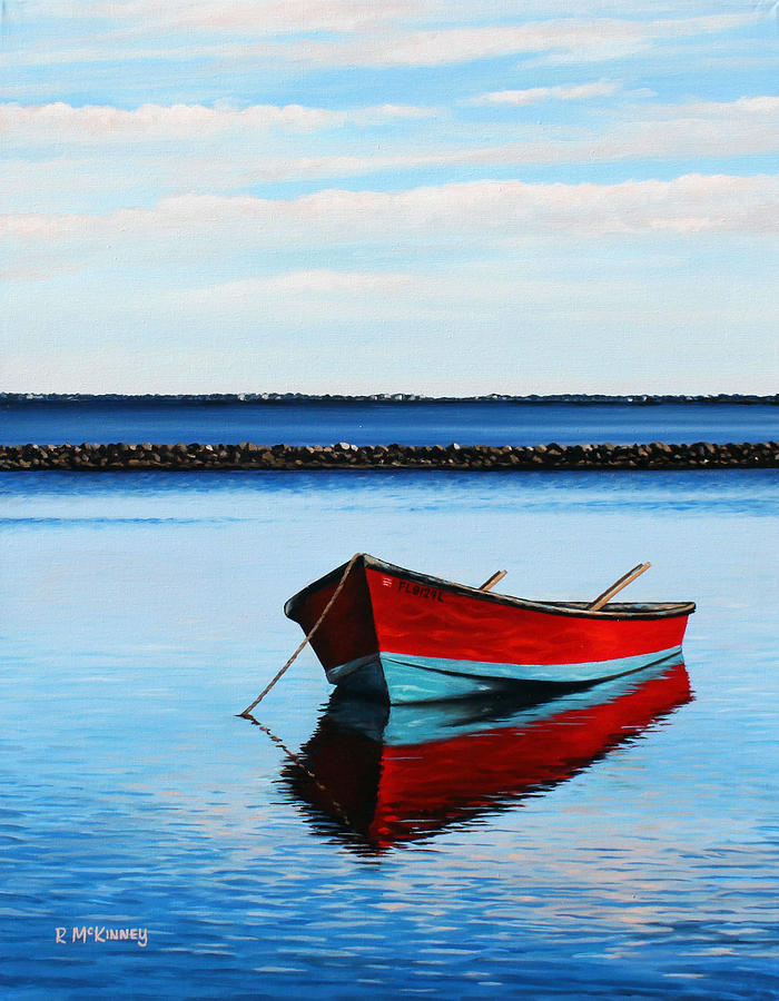Boat Painting - Eastpoint Red by Rick McKinney
