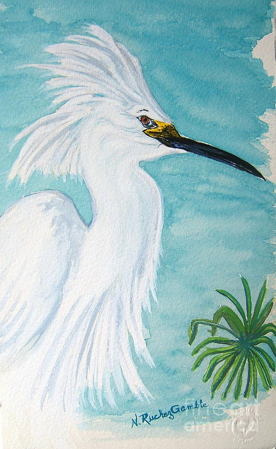 Wading Bird Painting - Egret by Nancy Rucker