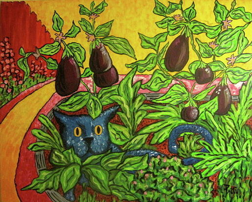 Cats Painting - El Jardin De El Gato Azul by Patty Rebholz