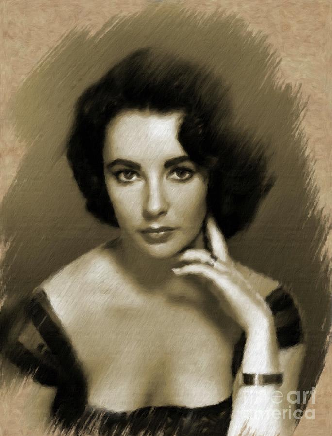 Elizabeth Taylor, Vintage Actress Painting by Mary Bassett