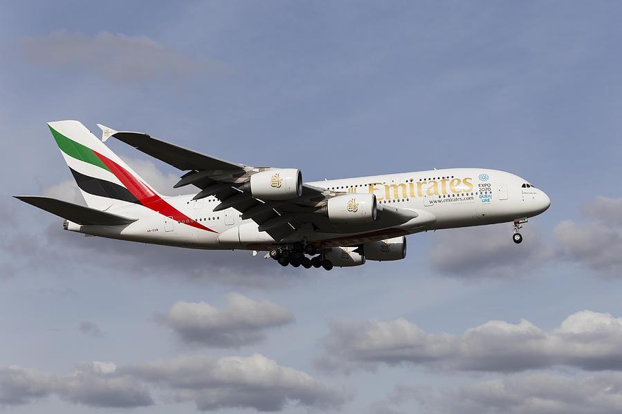 Emirates Airbus A380 Photograph - Emirates A380 Airbus by David Pyatt