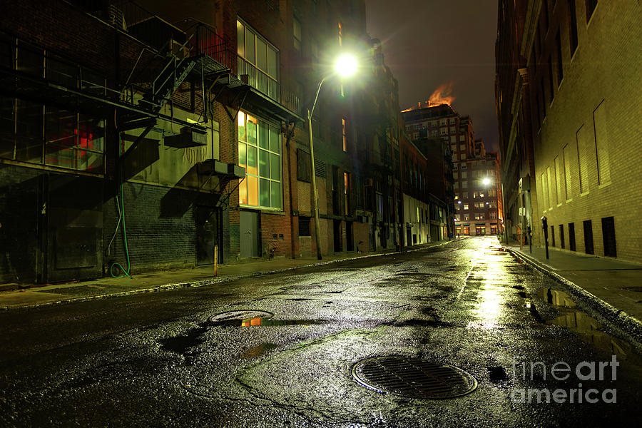 Empty Dark City Street Photograph by Denis Tangney Jr