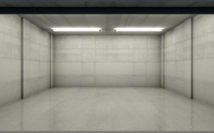 Garage Digital Art - Empty Double Garage Night 2 by Allan Swart
