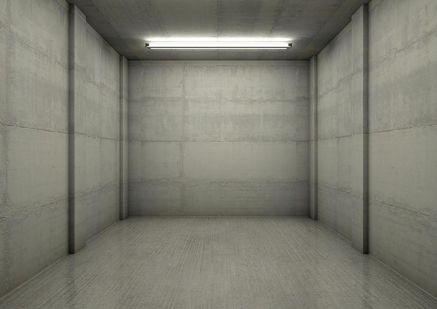 Garage Digital Art - Empty Single Garage Night 2 by Allan Swart