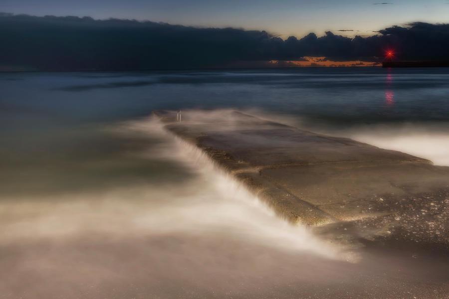 Molo Photograph - Genova Wavescape - Onde Sul Molo Con Faro by Enrico Pelos
