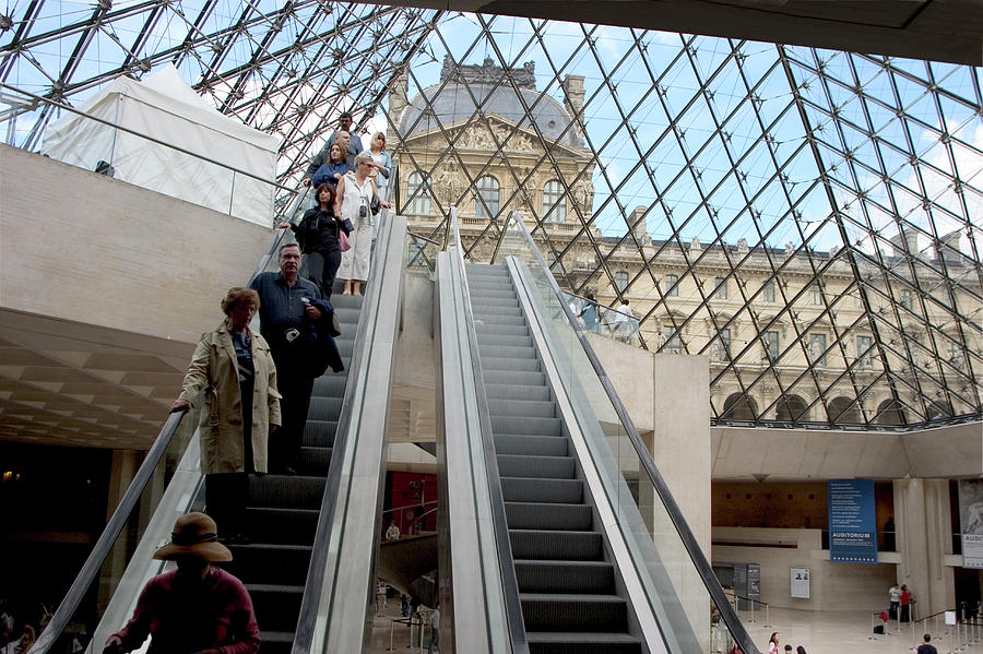 Architecture Photograph - Escalator Entrance To Louvre by Carl Purcell