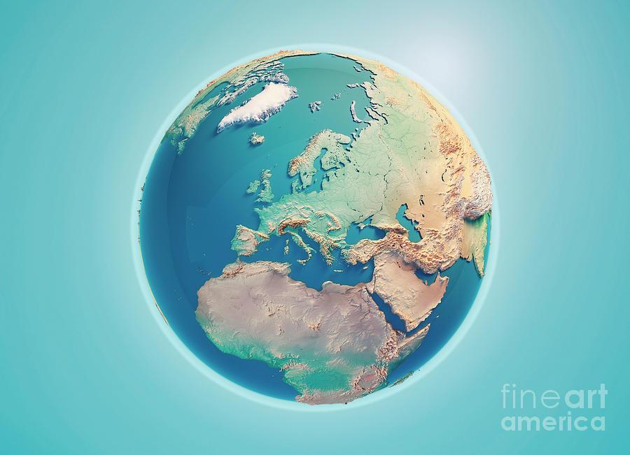 Europe Digital Art - Europe 3D Render Planet Earth by Frank Ramspott