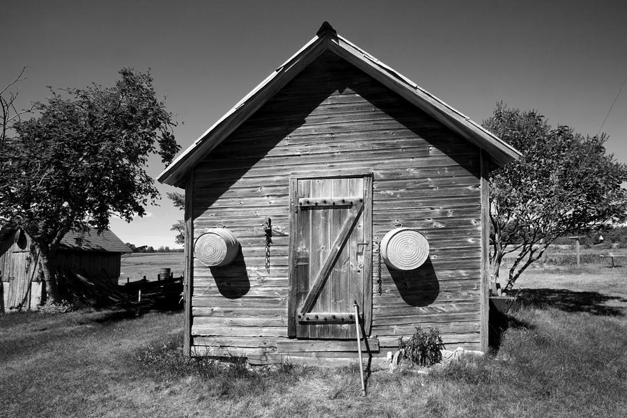 Black And White Photograph - 2 Eyed Shed by Stephen Mack
