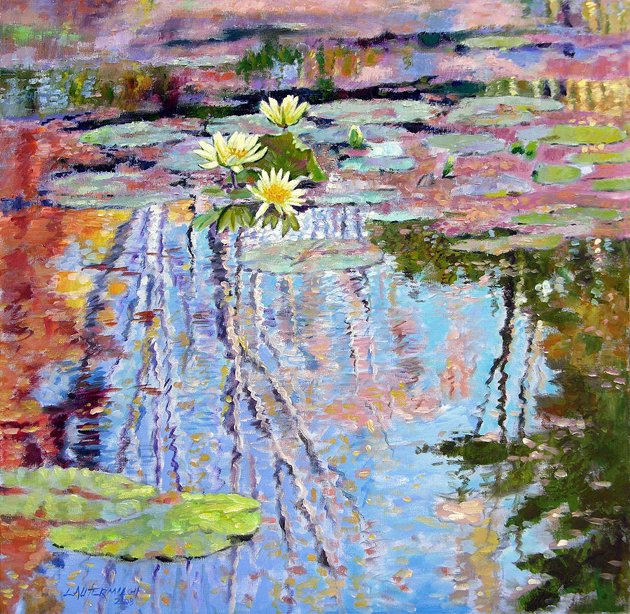 Garden Pond Painting - Fall Reflections by John Lautermilch