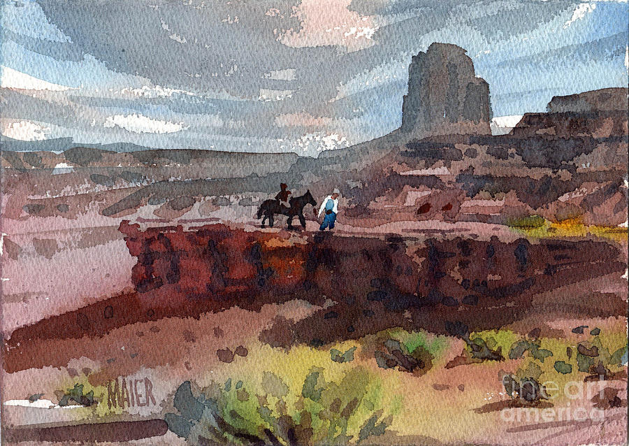 Navajo Painting - Father And Son by Donald Maier