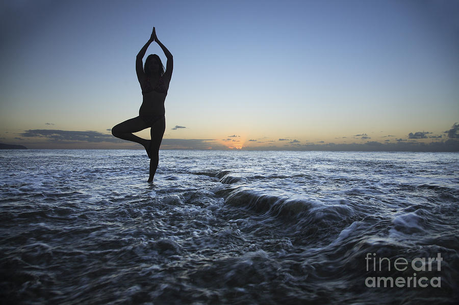 Alone Photograph - Female Doing Yoga At Sunset by Brandon Tabiolo - Printscapes
