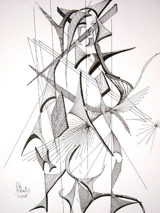 Flowers Drawing - Female Nude Standing by Paul Bonnie Kent