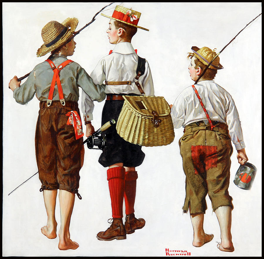 Norman Rockwell Painting - Fishing Trip by Norman Rockwell