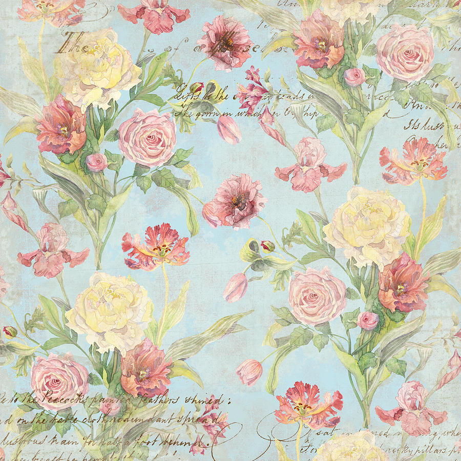 Fleurs de pivoine watercolor in a french vintage for Old french wallpaper