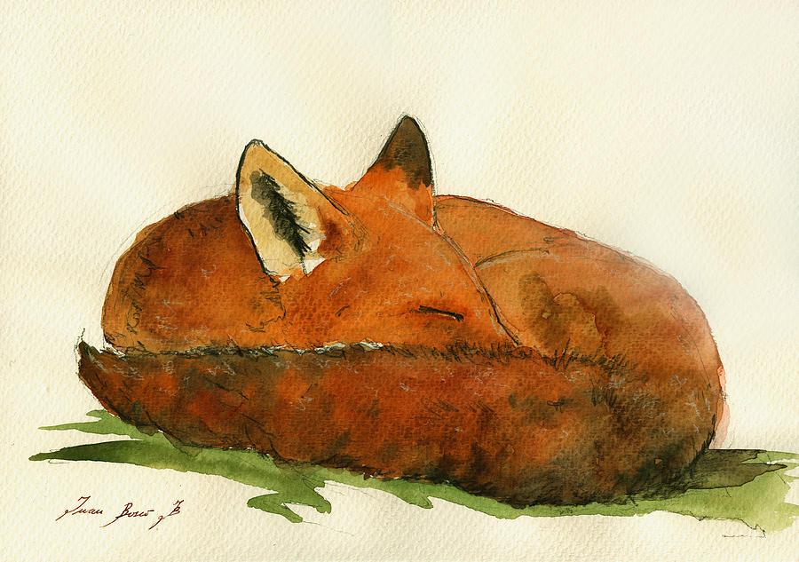 Fox Painting - Fox Sleeping Painting by Juan  Bosco
