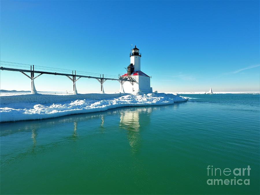 Lighthouse Photograph - Frozen Lighthouse by Timeless Aerial Photography LLC