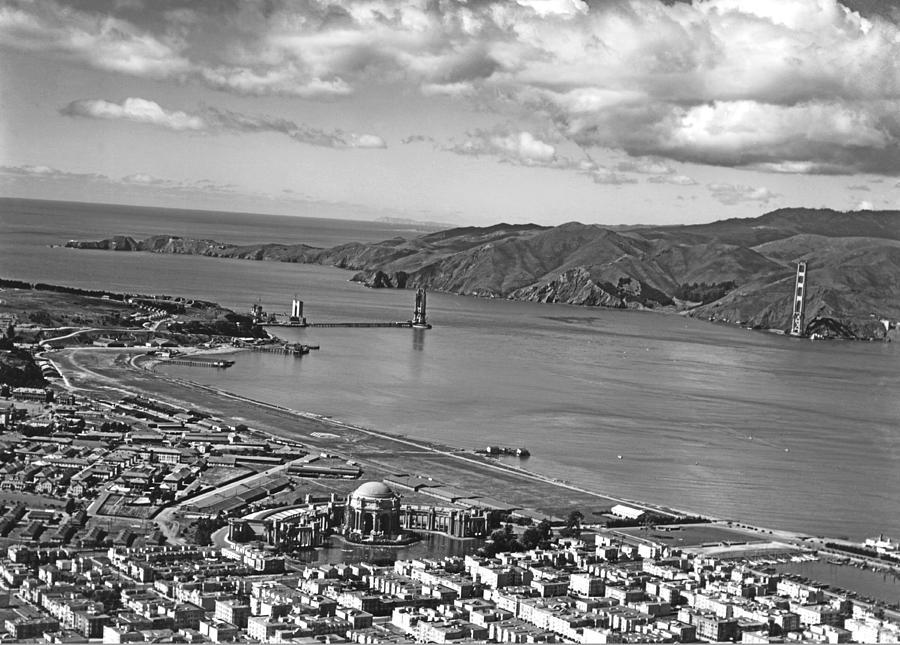 1930s Photograph - Gg Bridge Under Construction by Underwood Archives