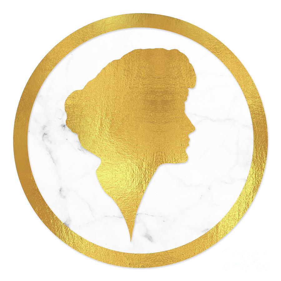 Gibson Girl Gold Silhouette, Marble Cameo, Left Facing Painting by ...