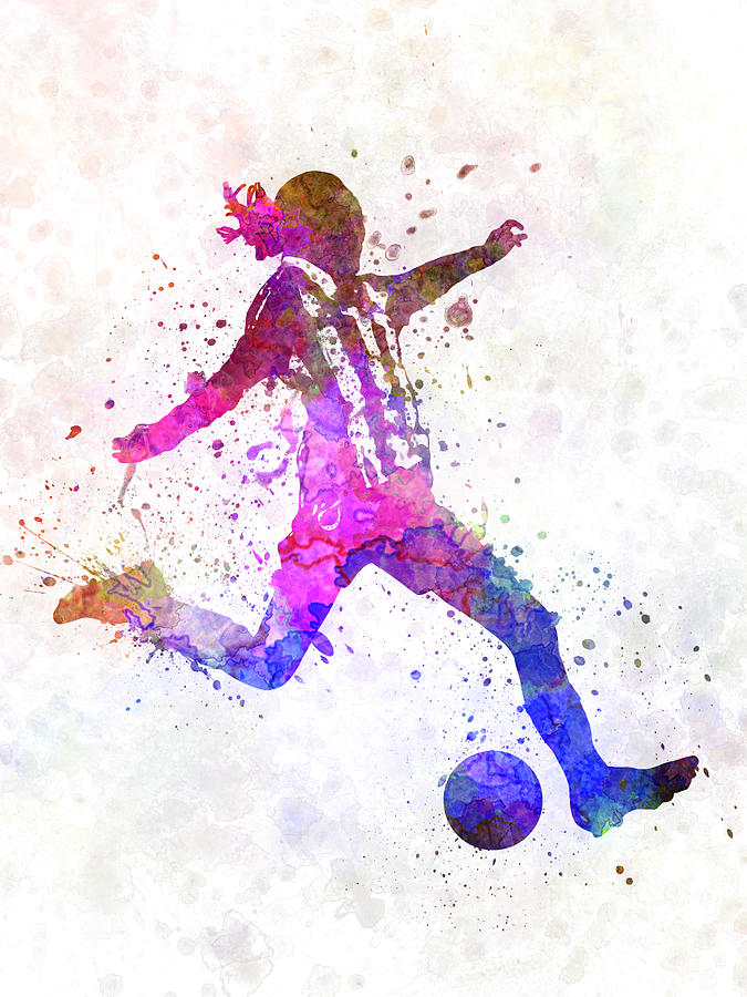 Girl Playing Soccer Football Player Silhouette Painting By