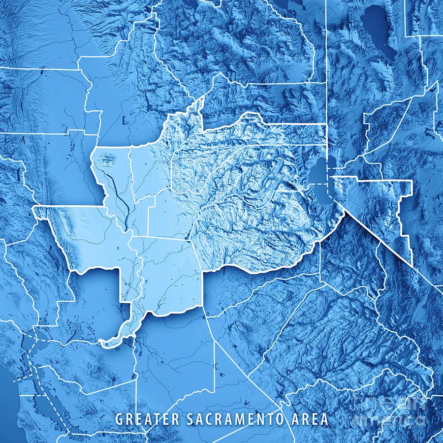 Sacramento Digital Art - Greater Sacramento Area California USA 3D Render Topographic Map by Frank Ramspott