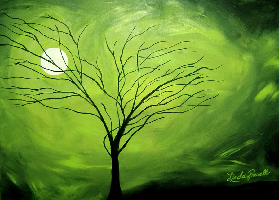 Green Night I Painting by Linda Powell