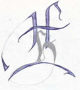 Calligraphy Drawing - 2 H by Johnna Crider