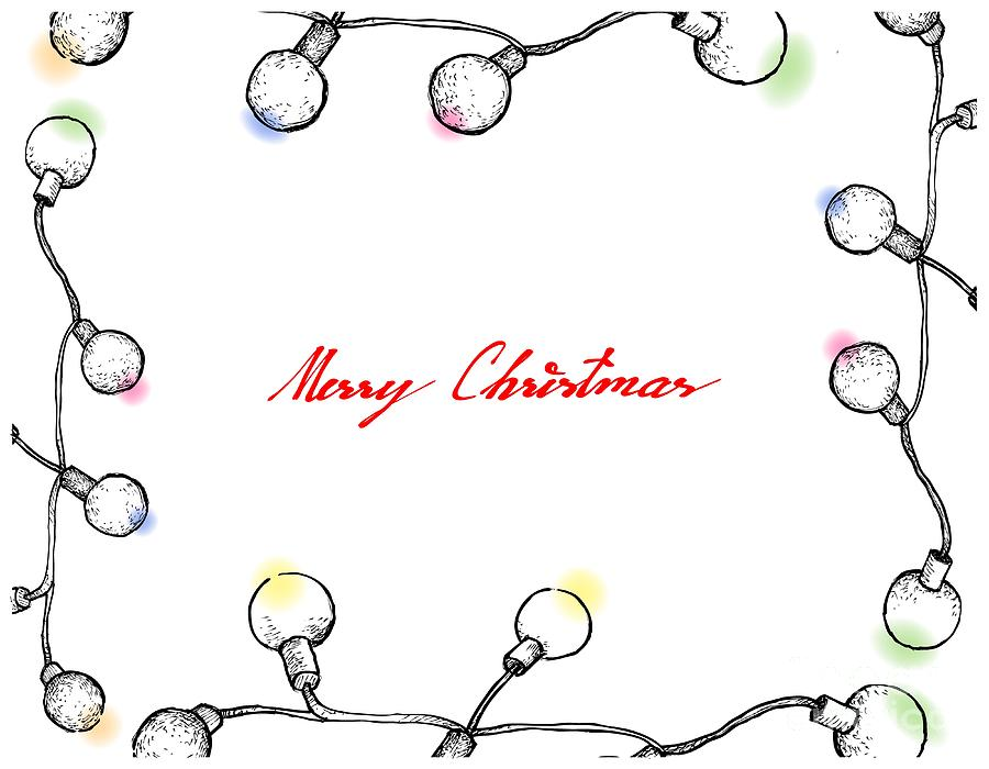 light drawing hand drawn of lovely christmas lights frame by iam nee - Christmas Lights Frame