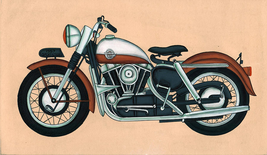 Harley - Davidson Old Byke Antique Vintage, Artwork India, Miniature  Painting, Watercolor Painting  by A K Mundra