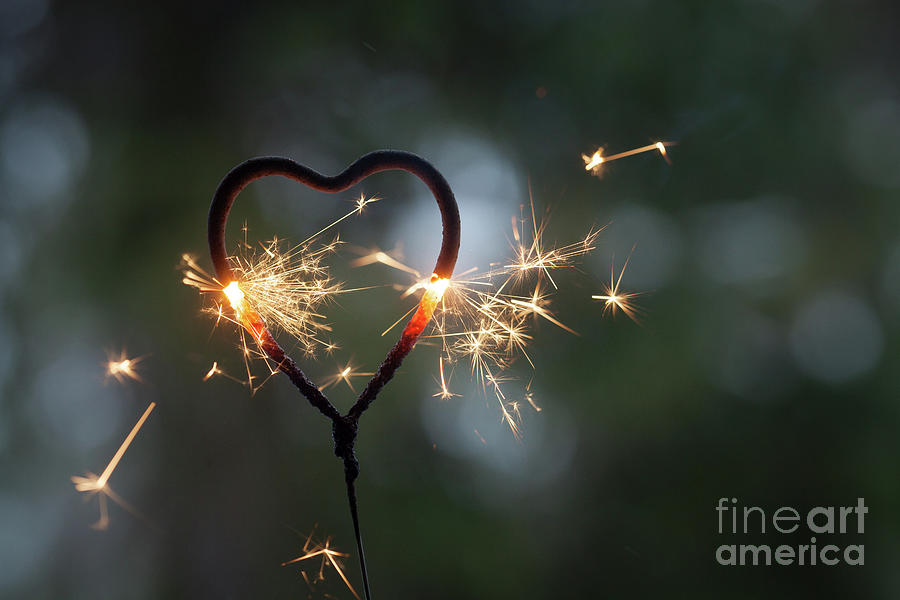 Sparkler Photograph - Heart Shape Sparkler by Kati Finell